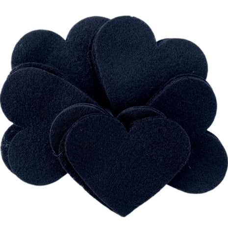 Black Felt 3 Inch Hearts (28pc)