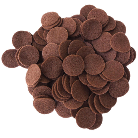 Cocoa Brown Felt Circles (3/4 to 5 inch)