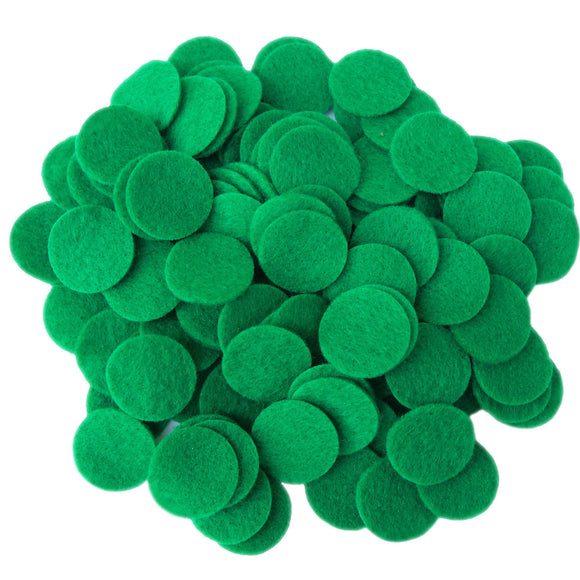 Green Felt Circles (3/4 to 5 inch)