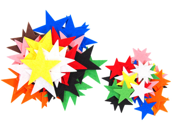 Stiff Mixed Color Assortment Felt Stars (1.5 to 3 Inch)