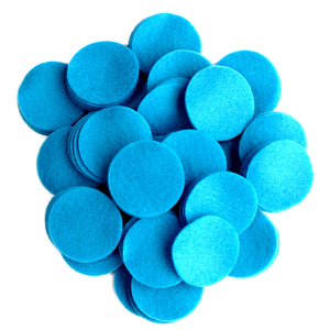 Neon Blue Felt Circles (3/4 to 5 inch)