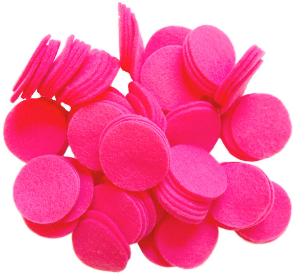 Neon Pink Felt Circles (3/4 to 5 inch)