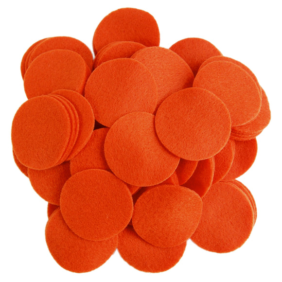 Pumpkin Orange Felt Circles (3/4 to 5 inch)