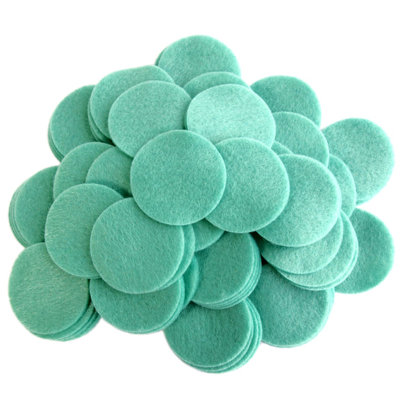 Sea Green Felt Circles (3/4 to 5 inch)