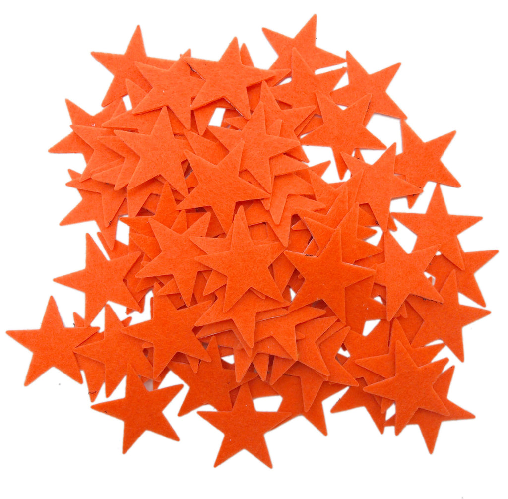 85 pc Orange 1.5 inch Felt Star Stickers