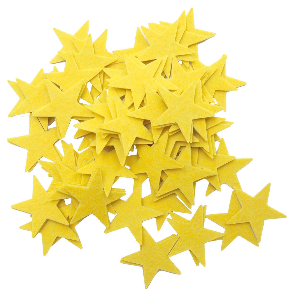 85 pc Yellow 1.5 inch Felt Star Stickers