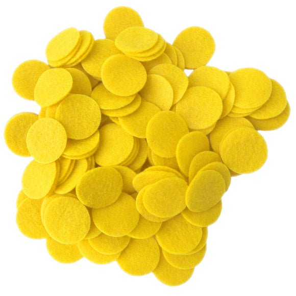 Yellow Felt Circles (3/4 to 5 inch)
