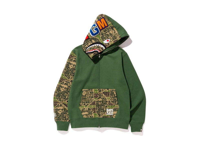 Bape XXV Cities Camo Shark Full Zip Hoodie Green