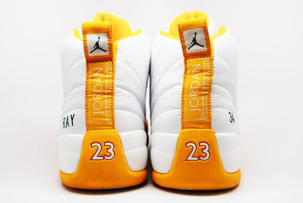 ab63a7a8be61 ... Air Jordan 12 Retro Ray Allen Seattle Supersonics P.E. White Yellow   VNDS