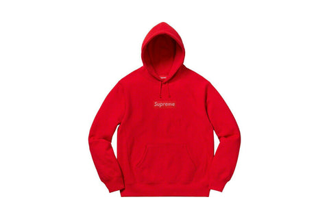 Supreme Swarovski Box Logo Hooded Sweatshirt Red