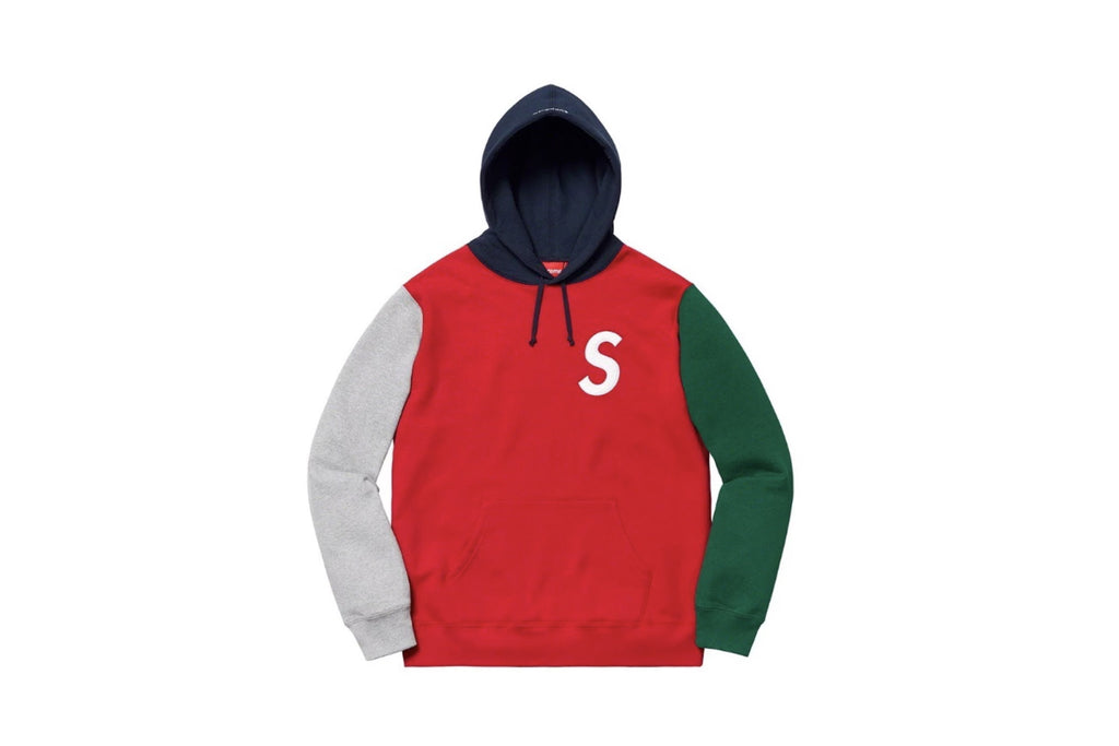 Supreme S Logo Colorblocked Hooded Sweatshirt Red