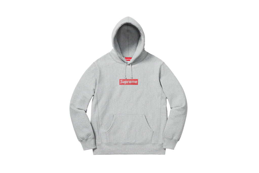 Supreme Swarovski Box Logo Hooded Sweatshirt Heather Grey