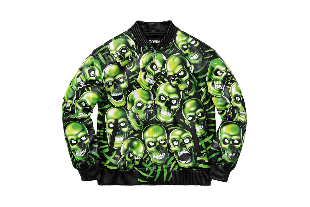 Supreme Skull Pile Leather Bomber Jacket Green