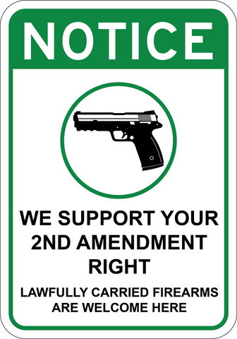 We Support 2nd Amendment Right - Sign Wise