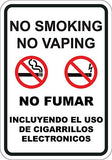 No Smoking No Vaping English Spanish - Sign Wise