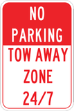 No Parking Tow Away 24/7 - Sign Wise