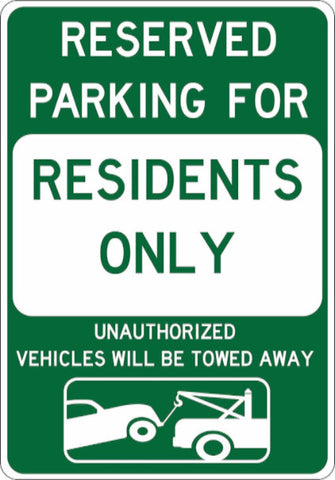 Resident Parking Only - Tow Away at Owner's Expense - Sign Wise