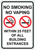 No Smoking No Vaping Within 25 Feet of All Building Entrances - Sign Wise