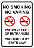 No Smoking No Vaping Within 25 Feet of All Building Prohibited By State Law - Sign Wise
