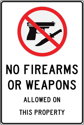 No Weapons On This Property - Free Shipping - Sign Wise