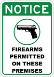 Firearms Permitted On These Premises - Sign Wise