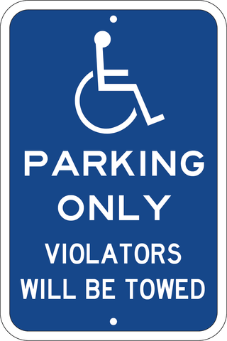 "Blue Handicapped Tow Away Parking Sign, 12""x18"", 3M Hi-Pris Reflective Sheeting - Sign Wise"