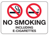No Smoking Including Electronic Cigarettes - Sign Wise