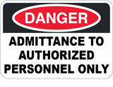 Admittance to Authorized Personnel Only