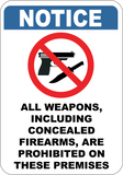 All Weapons Including Concealed Are Prohibited