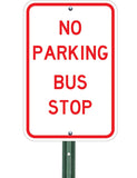 no parking bus stop sign on post