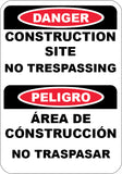 Construction Site No Trespassing English/Spanish
