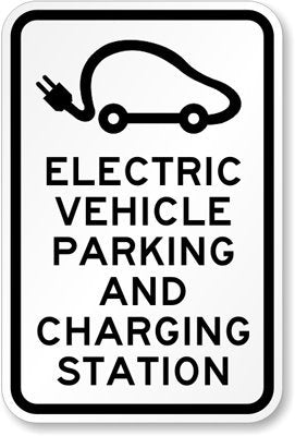 Blue Electric Vehicle Charging Station - Sign Wise