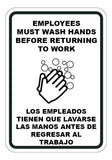 Employees Must Wash Hands Before Returning to Work English/Spanish Sign - Sign Wise