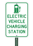 electric vehicle charging station sign on post