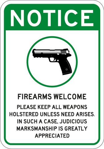 Firearms Welcome - Sign Wise
