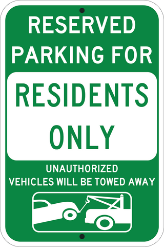 Resident Parking Only Green - Sign Wise