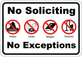 No Soliciting No Exceptions - Sign Wise