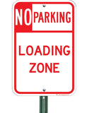 no parking loading zone sign on post