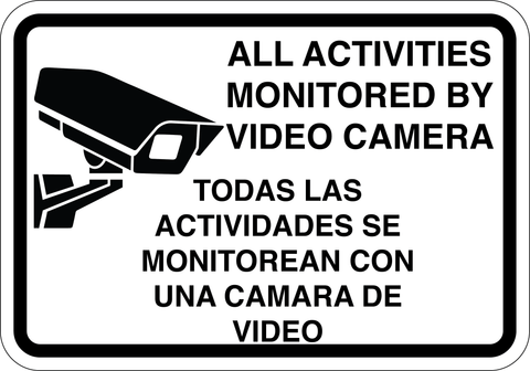 All Activities Monitored By Video Camera - Sign Wise