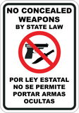 No Concealed Weapons By State Law English/Spanish
