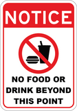 No Food or Drink Beyond This Point - Sign Wise