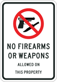 No Firearms or Weapons On Property