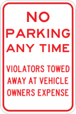 No Parking Anytime - Violators Towed - Sign Wise