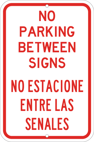 no parking between signs english and spanish sign