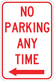 No Parking Any Time Left - Sign Wise