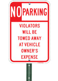 No Parking Violators Will Be Towed - Sign Wise
