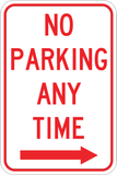 No Parking Any Time Right - Sign Wise