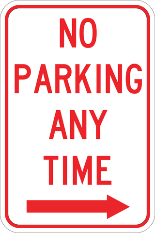 No Parking Any Time Right