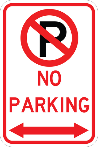 No Parking Both Way Arrow - Sign Wise