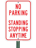 no parking standing stopping anytime on post